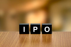 IPO or Initial public offering on black block Royalty Free Stock Photos