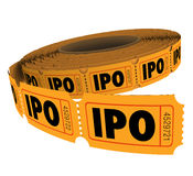 IPO Initial Public Offering Company Business Raffle Ticket Roll Royalty Free Stock Images