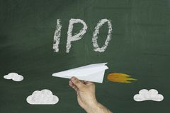 IPO Initial Public Offering finance business concept. IPO Initial Public Offering finance business concept on green blackboard Stock Image
