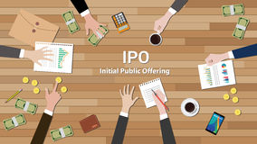 Ipo initial public offering negotiation team work. Vector illustration Royalty Free Stock Photos