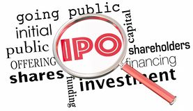 IPO Initial Public Offering Stock Sale Magnifying Glass 3d Illus stock illustration