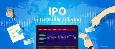 IPO initial public offering stocks market company. Vector stock illustration