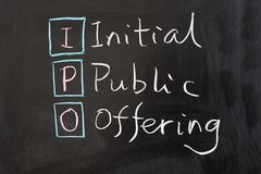 IPO - Initial public offering. Words written on the chalkboard Stock Images