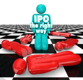IPO the Right Way Entrepreneur Standing Successful Initial Public Offering. IPO the Right Way 3d words on an entrepreneur standing as a successful business vector illustration