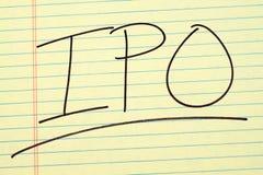 IPO sur un tampon jaune Photos libres de droits