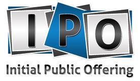 IPO Three Blocks. Three letters IPO in different with Initial Public Offering text stock image