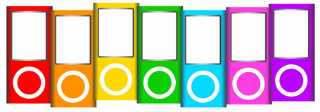 Ipod. Apple iPods in different colors royalty free illustration