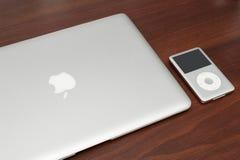 IPod classic 160 Gb on macbook. Pavlograd, Ukraine - December 18, 2014: iPod classic 160 Gb on silver macbook. Studio shot Stock Images