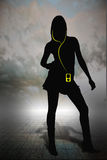 Ipod girl. Women with mp3 player on horizon grid Stock Photos