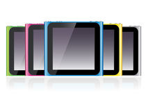 Ipod Nano Set EPS. Illustration of five sixth generation Ipod Nano in different colors Royalty Free Stock Photo