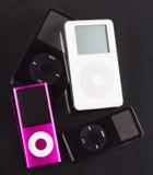 Ipods on black Stock Photo