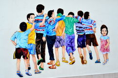 Ipoh Street Art: Nine children Royalty Free Stock Photo