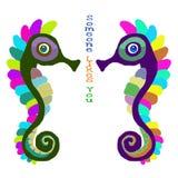 Ippocampi nell'amore con l'iscrizione Fotografie Stock Libere da Diritti