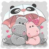 Ippopotami svegli del fumetto con l'ombrello illustrazione vettoriale