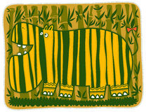 Ippopotamo giallo in bande verdi Immagine Stock