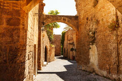Ippoton Street of medieval old town, Rhodes Stock Images