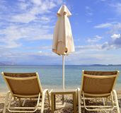 Ipsos Beach sun loungers Stock Photography