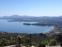 Ipsos and Corfu Town aerial view Royalty Free Stock Images