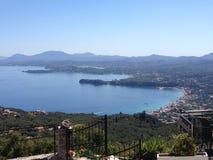 Ipsos i Corfu miasteczka widok z lotu ptaka Obrazy Royalty Free
