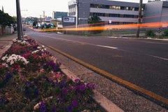 Ipswich Australia, Wtorek, - 16th 2018 Styczeń: Widok Ipswich miasta uliczny ruch drogowy przy nocą na Wtorku 16th 2018 Styczeń zdjęcie royalty free