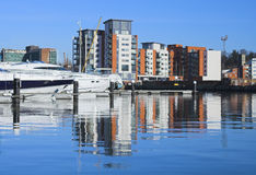 Ipswich Reflections. Apartments and boats reflected in the marina royalty free stock photos