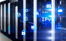 Ipv6 έννοια τεχνολογίας δικτύων στο υπόβαθρο δωματίων κεντρικών υπολογιστών Στοκ Εικόνες