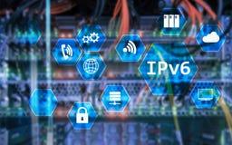 Ipv6 έννοια τεχνολογίας δικτύων στο υπόβαθρο δωματίων κεντρικών υπολογιστών Στοκ Φωτογραφία