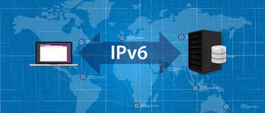 IPv6 Internet Protocol version 6 connection server computer standard Royalty Free Stock Images