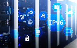 Ipv6 network technology concept on server room background stock photos