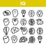 IQ, значки вектора интеллекта линейные установил тонкую пиктограмму иллюстрация вектора