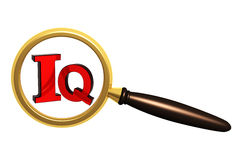 IQ. Letters I and Q and loupe. Objects over white Royalty Free Stock Images