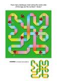 IQ die abstract visueel raadsel met lieveheersbeestjes opleiden die langs de krullende band kruipen Royalty-vrije Stock Foto's