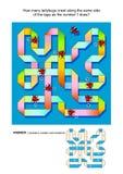 IQ die abstract visueel raadsel met lieveheersbeestjes opleiden die langs de krullende band kruipen Stock Afbeelding