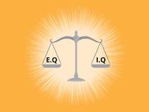 Iq- eller eqintellektuellen eller vs emotionell fråga jämför på en skala med gul bakgrund Arkivbild