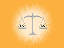 Iq or eq intellectual or vs emotional question compare on a scale with yellow background Stock Photography