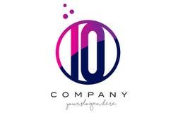 IQ I Q Circle Letter Logo Design with Purple Dots Bubbles Stock Photos