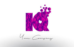 IQ I Q Dots Letter Logo with Purple Bubbles Texture. Stock Images