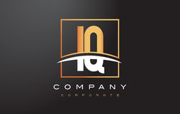 IQ I Q Golden Letter Logo Design with Gold Square and Swoosh. Stock Photos