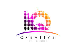 IQ I Q Letter Logo Design with Magenta Dots and Swoosh Stock Image