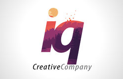 IQ I Q Letter Logo Design with Purple Forest Texture Flat Vector Royalty Free Stock Image