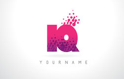 IQ I Q Letter Logo with Pink Purple Color and Particles Dots Des Royalty Free Stock Images