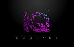 IQ I Q Letter Logo with Purple Particles and Bubble Dots Royalty Free Stock Photo