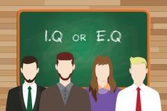 Iq lub eq intelektualista vs emocjonalny pytanie lub porównuje pisze na desce przed biznesowym mężczyzna i biznesową kobietą Obraz Royalty Free