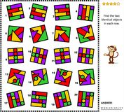Abstract picture puzzle - find two identical images in every row Stock Photo