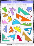 Make triangles math picture puzzle Royalty Free Stock Images