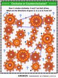 Visual mechanics or math puzzle with rotating gears and belt drives Royalty Free Stock Photo