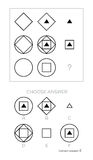 IQ test. Choose answer. IQ test. Choose correct answer. Logical tasks composed of geometric shapes. Vector illustration stock illustration