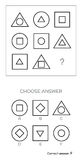 IQ test. Choose answer. Logical tasks composed of geometric shapes. Vector illustration Stock Images