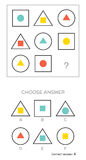 IQ test. Choose answer. Logical tasks composed of geometric shapes. Vector illustration royalty free illustration