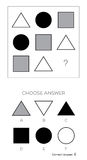 IQ test. Choose answer. Logical tasks composed of geometric shapes. Vector illustration Stock Photo